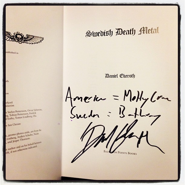Packing up signed copies of Swedish Death Metal is like enjoying a bottomless bag of unholy fortune cookies.