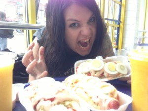 annick giroux with colombian hot dogs