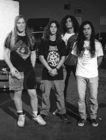 Above Photo By Michael J Mulley From MEAN DEVIATION Of Cynic In The Demo Days 1989 L R Sean Reinert Jason Gobel Tony Choy Paul Masvidal