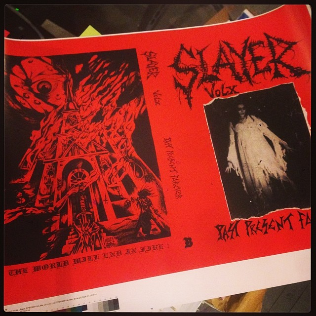 Printer proof for the SLAYER MAG X reissue underway at Bazillion Points: