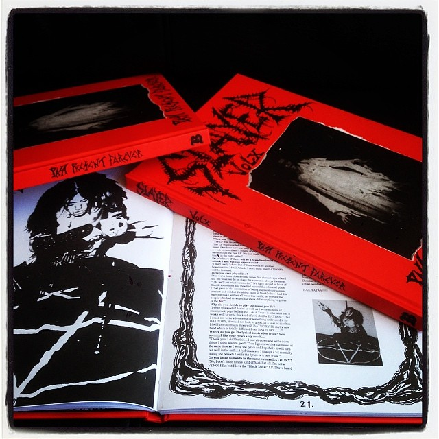 Printer samples of SLAYER X red hardcover reissue. Wow. Black metal history at its purest.